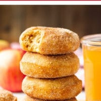 pinterest collage with text above photo that says vegan apple cider donuts