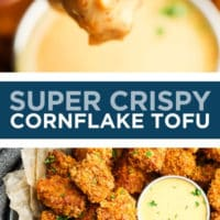 Pinterest collage with text of cornflake tofu