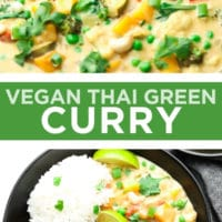 pinterest collage with text of green curry