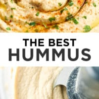 "pinterest collage with text that reads ""the best hummus"""