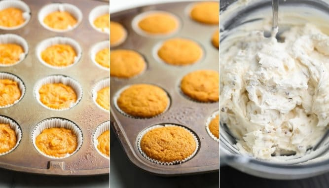 collage of uncooked, then cooked cupcakes in pan and frosting in a bowl
