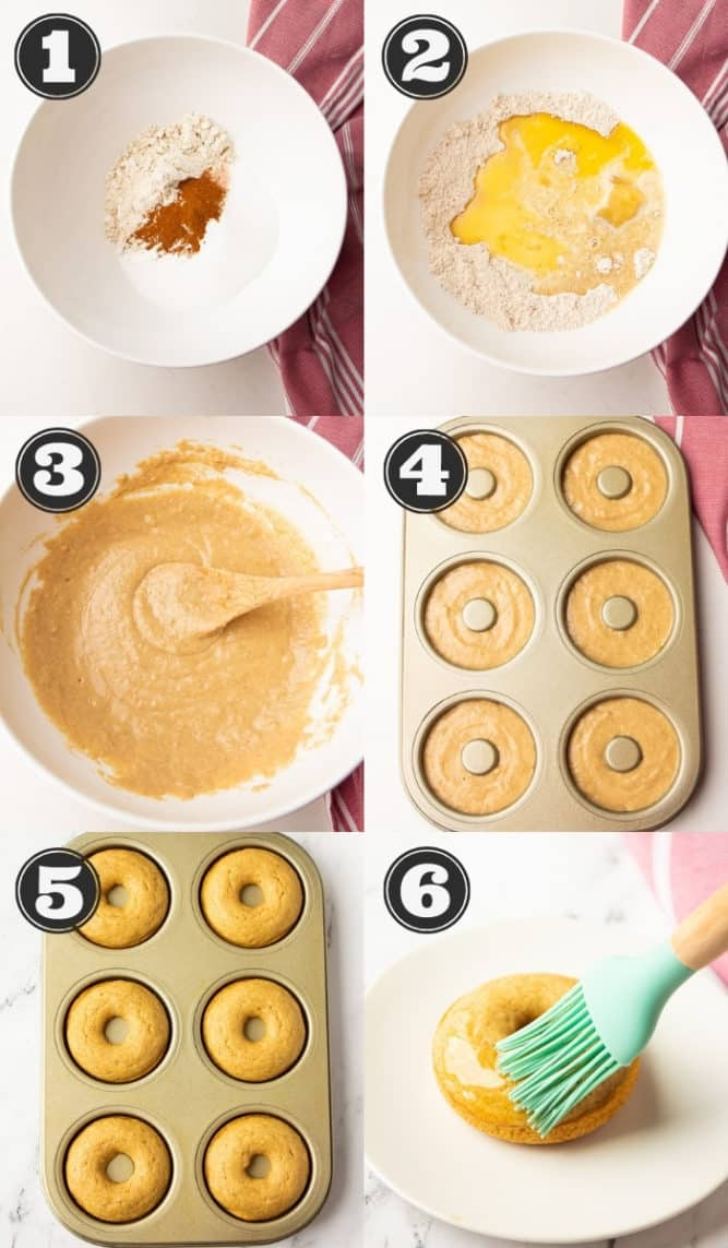 collage of how to make donuts, step by step