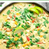 pinterest image with text reading vegan thai green curry
