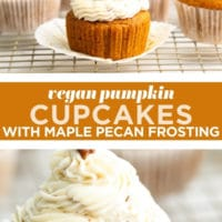 Pinterest collage with text of vegan pumpkin cupcakes