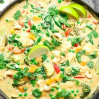 square image on a pan with creamy curry and limes