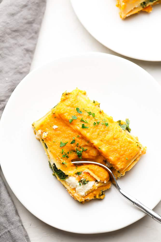 plate with orange topped lasagna sprinkled with parsley
