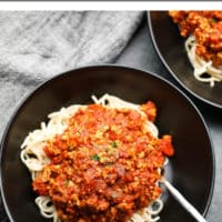 Pinterest collage with text of bolognese, vegan