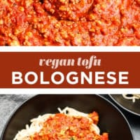 Pinterest collage with text of tofu bolognese, vegan
