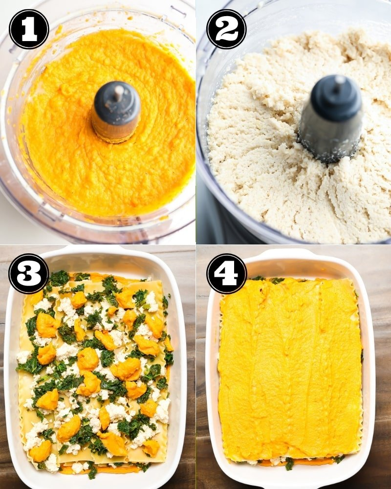 collage of how to make orange lasagna