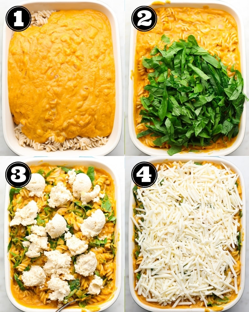 collage showing step by step instructions of pasta bake