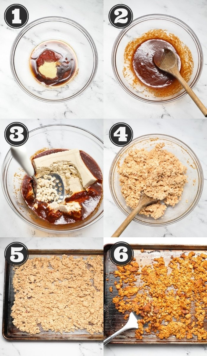 collage of how to make vegan bolognese with tofu step by step