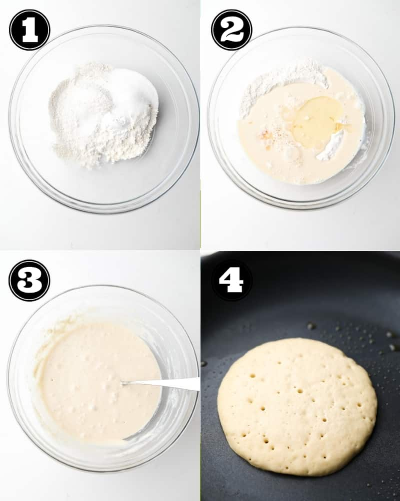 collage how to make buckwheat pancakes