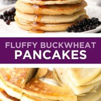Pinterest collage with text fluffy pancakes