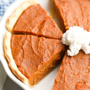 square image of sweet potato pie, cut in pan