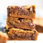 square photo of 3 cookie bars stacked