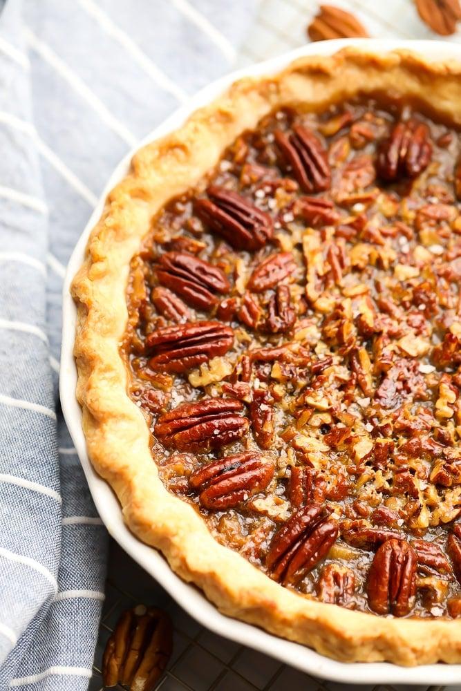 close up of a vegan pecan pie