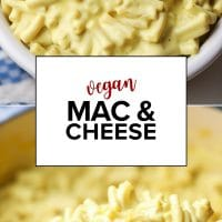 Pinterest image with text for mac and cheese that is vegan