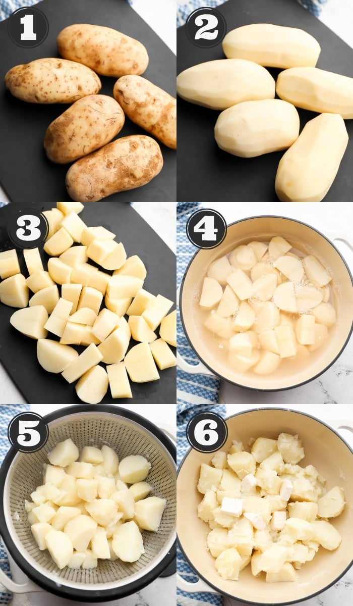 collage showing how to make mashed potatoes step by step