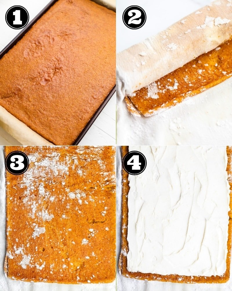 collage of how to make vegan pumpkin roll step by step