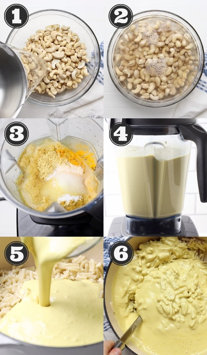 collage of how to make vegan mac and cheese