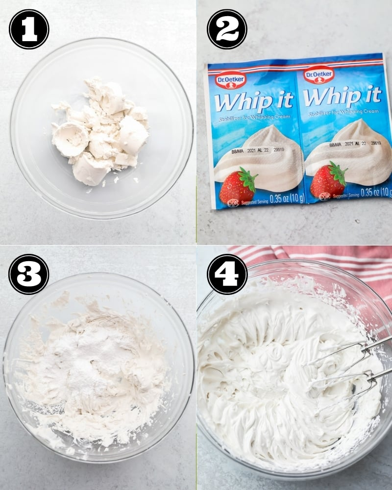 collage of how to make coconut whipped cream, step by step
