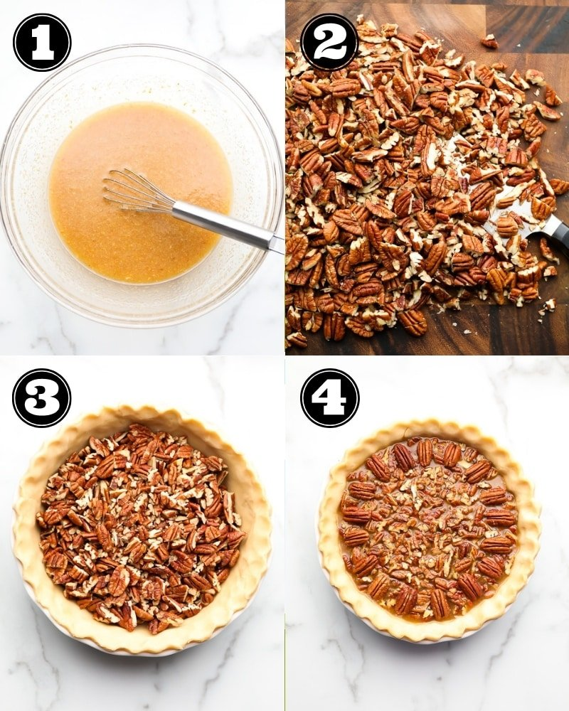 collage of how to make vegan pecan pie, step by step