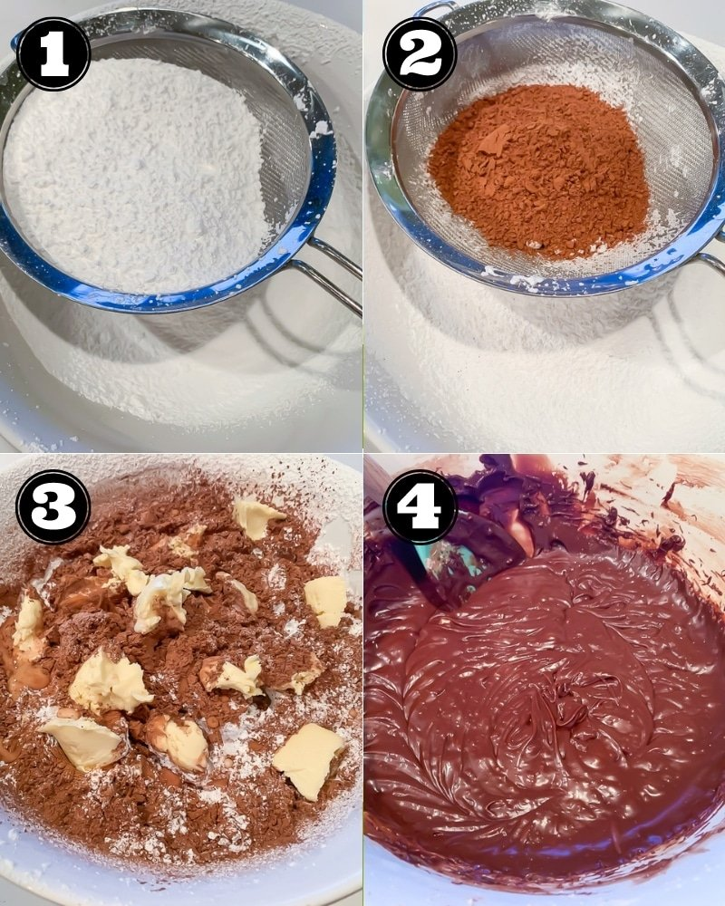 collage of how to make vegan fudge step by step