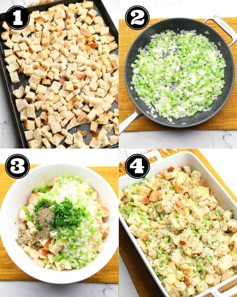 collage of how to make vegan stuffing