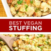 Pinterest collage with text of stuffing