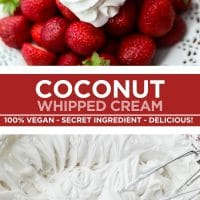 Pinterest image with text overlay for whipped cream made with coconut