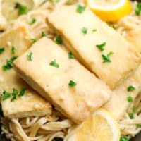 square photo of lemon tofu over pasta