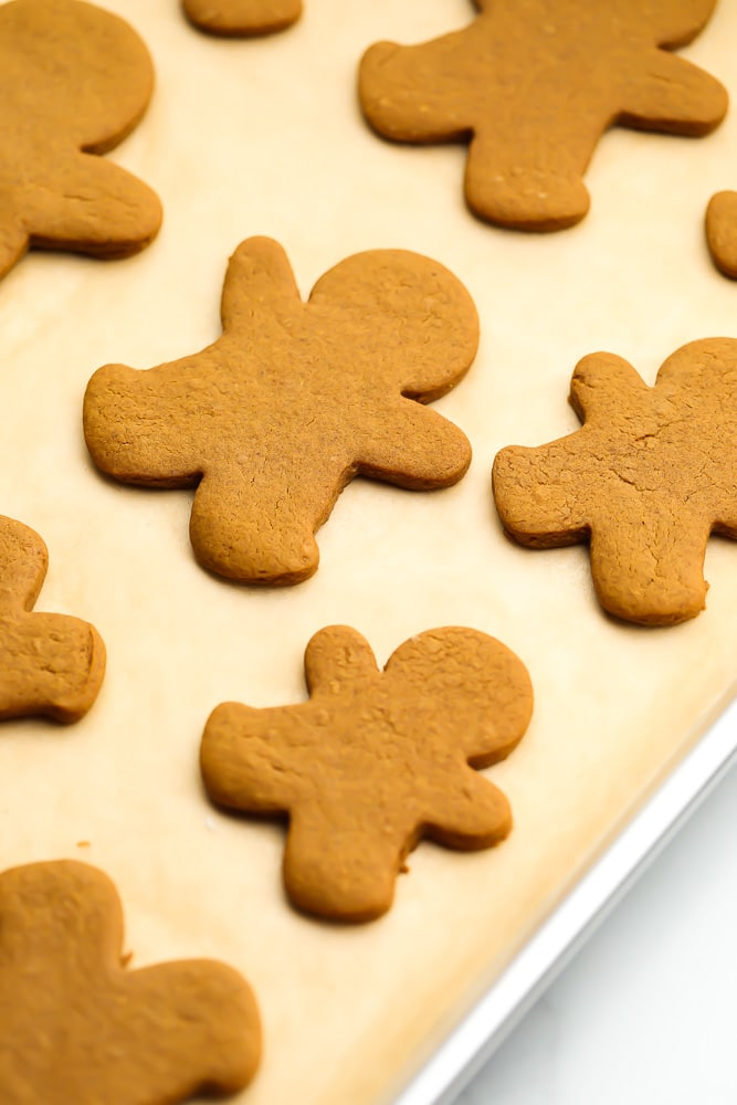 baked gingerbread cookies on a tray