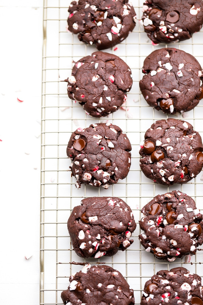 chocolate cookies with candy canes cooling on a rack