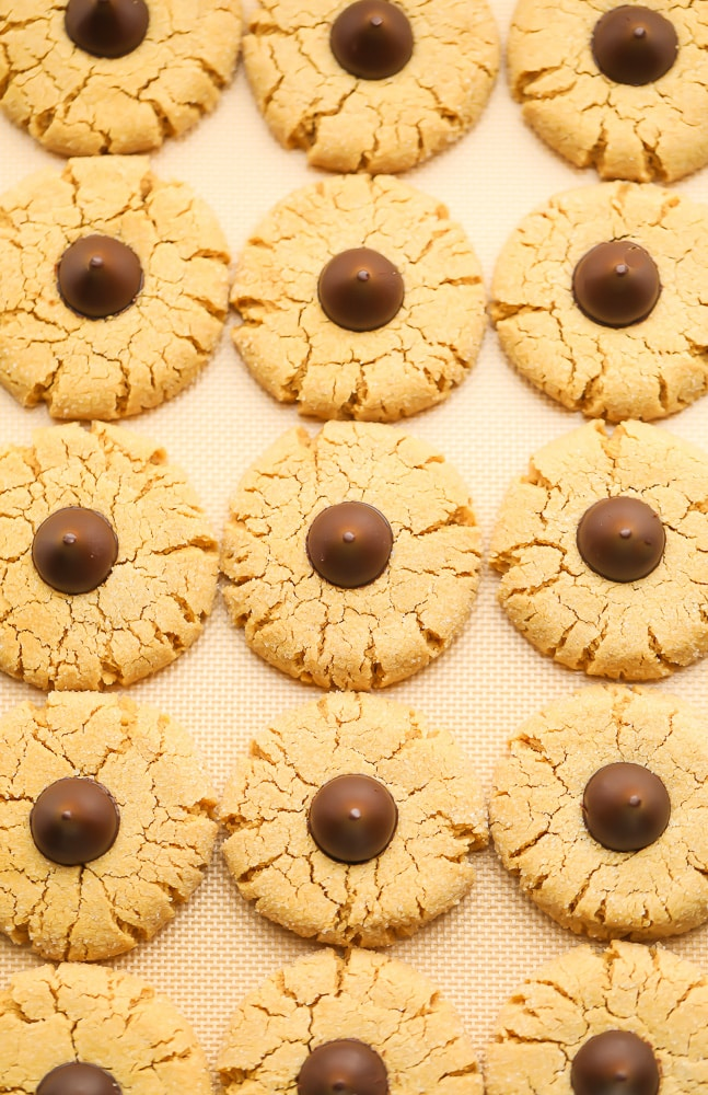 looking down at cookies on a baking sheet