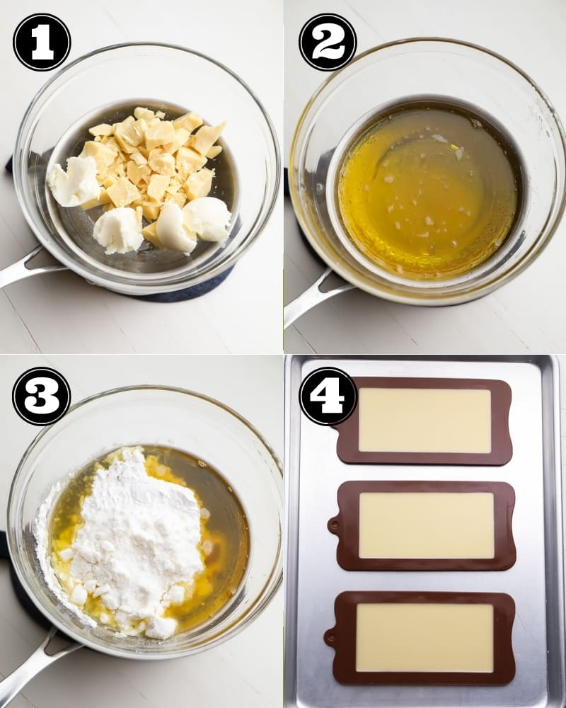 collage of how to make vegan white chocolate