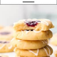 Pinterest collage with text of raspberry almond cookies