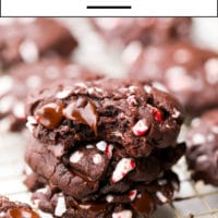 Pinterest image with text overlay of chocolate cookies with peppermint candy canes