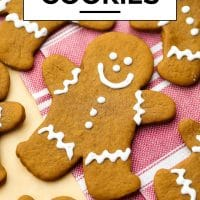 Pinterest image with text of gingerbread people