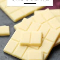 pinterest image with text of white chocolate that is vegan