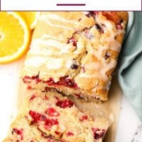 Pinterest collage with text of orange cranberry loaf