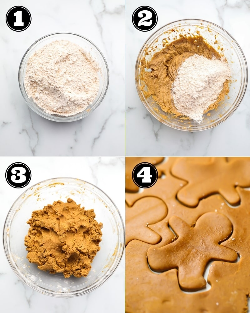 collage of how to make gingerbread cookies, step by step