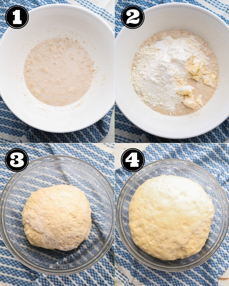 collage showing how to make dinner roll dough