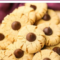 Pinterest image with text of peanut butter blossom cookies