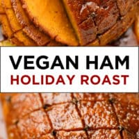 Pinterest image with text box for vegan ham roast
