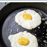 pinterest collage with text of a fried egg made vegan