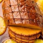 square image of sliced vegan meat roast