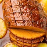 square image of sliced vegan meat roast