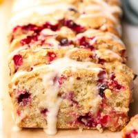 square image of loaf of fruity bread