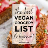 image with a text box for grocery list for vegan beginners