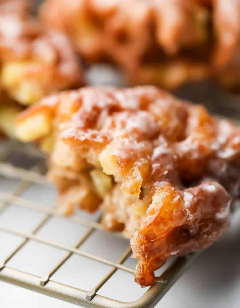 cut in half fritter with apples